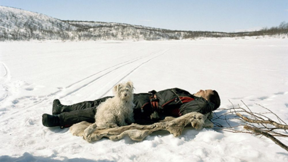 Céline Clanet. Ole Ailo sleeping on reindeer skin, Máze, 2005. Fragment