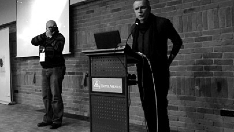 Yuri Kozyrev (on the right) at the seminar in Vilnius. Photo by Arnis Balčus