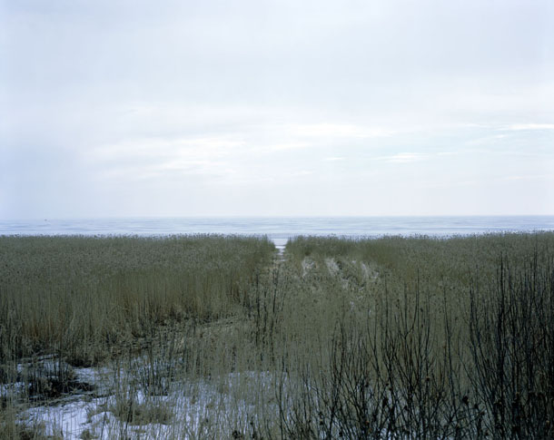 """Yan Morvan. Ladoga Lake, St Petersburg, Russia. From """"Battlefields"""". The road of life during WW2."""