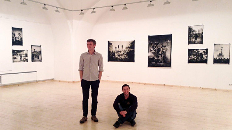 Sergiy and Vlad at the exhibition hall Arsenāls. Photo by Arnis Balčus