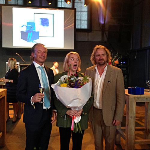 The winner of MEIJBURG ART COMMISSION Anouk Kruithof with Pjotr de Jong & Meijburg & Co representative. Photo by Inga Erdmane