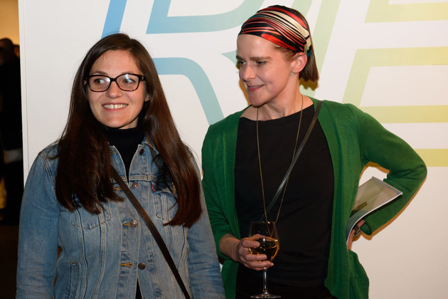 Natasha Caruana (on the left) at the opening of the exhibition. Photo by Gints Ivuškāns